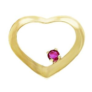 14k Yellow Gold 0.05ctw Ruby Accent Open Charm Pendant