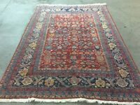 """VINTAGE TURKISH WOVEN LEGENDS RUG HAND KNOTTED SPUN WOOL 8' 6"""" X 6'"""