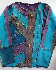 Bohemian BOHO Nepal Women's Long Sleeve Ethnic Floral Top Blue Purple S/M NEW