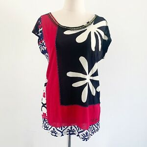 Desigual Size S Juliet a Short Sleeve Black Red Floral Shirt Top With Beading