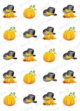 20 THANKSGIVING  FALL PUMPKIN AND PILGRIM HAT WATER SLIDE NAIL ART DECALS