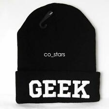 95a9bf14555 UNISEX HAT MENS WOMANS KNIT KNITTED BEANIE RETRO COOL GEEK BLACK HAT