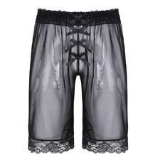 Sexy Mens Lingerie Sheer Mesh Loose Lounge Shorts Pants Sissy Briefs Underwear