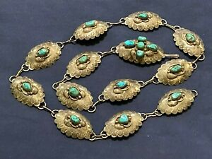 TURQUOISE CONCHO BELT STERLING SILVER STAMPED SUNRISE B WOODY HANDCRAFTED