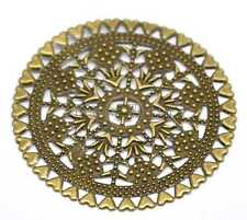 20 Bronze Tone Filigree Round Wraps Connectors Embellishment Findings 60x60mm