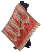 Multi Color Ari Embriodery 100%Wool Hand-Cut Kani Shawl Jamavar India Pashmina