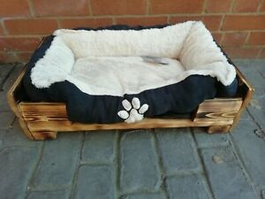 Dog or Cat Bed Rustic LogLap Scorched effect frame with or without soft insert