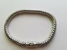 Solid Sterling Silver 925  Woven Wheat Chain  Bracelet