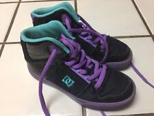 DC Spartan High - Top Purple Black Leather Skateboarding Shoes Youth's Girls 3