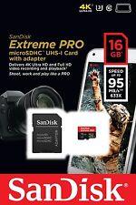 Tarjeta Memoria MicroSD 16 GB 95 MBs CLASE 10 SanDisk EXTREME PRO GO 4K 16GB 32