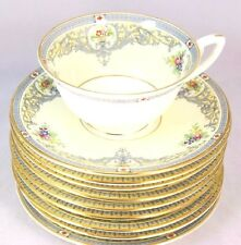6 SETS VINTAGE ROYAL WORCESTER CHINA THE DUCHESS Z535 CUPS & SAUCERS FLORAL URNS