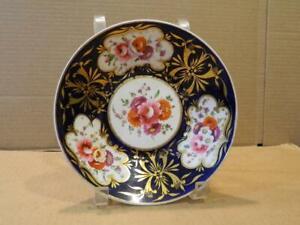 "Antique Hand Painted Imari 7 1/2"" Bowl Cobalt Blue & Gold Trim Flowers (A)"