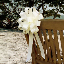 "6 Ivory 8"" Pull Bows Wedding Church Aisle Pew Chair Gift Party Table Decorations"