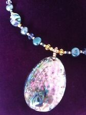 Necklace Abalone Shell Pendant Pearl Crystal