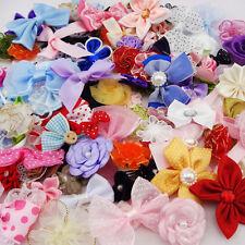 50pcs Ribbon Bows Flowers Appliques Craft Lots Mix Wedding Decoration A87