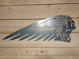 Premium Indian Motorcycle head Metal Sign Hand Finished Vintage motor bike wall