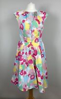 Boden Cotton Fit & Flare Dress Flower Show UK 10 Retro Vintage 50s Style
