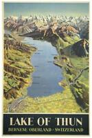 Lake of Thun Switzerland Vintage Travel Art Print Poster 24x36 inch