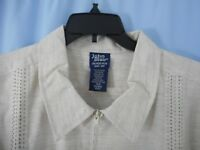 John Blair XLG Men's Shirt 4 pocket Full Zipper Front  NWOT Creme