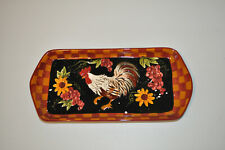 ROOSTER OBLONG SANDWICH DECORATIVE PLATE WALL HANGING COUNTRY POULTRY CHICKEN