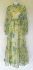 VINTAGE 1950s 60s LORRIE DEB DRESS FLOWERS BELT BOW POLY NYLON LINED