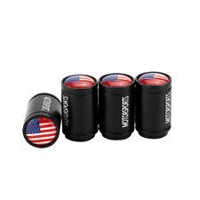 Black Aluminium USA US Flag Embelm Car Wheel Tire Valve Stem Caps Air Dust Cover