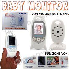 BABY MONITOR AUDIO WIRELESS SENZA FILI COLORI LCD LED CONTROLLO NEONATO VOX