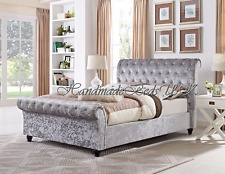 stylish sleigh upholstered designer crushed velvet bed frames