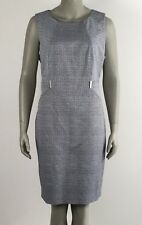 Calvin Klein Women's Dress 16 Plus Size Textured Pattern Career Blue and White
