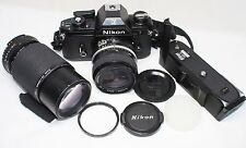 Nikon EM 35mm SLR Film Camera /w 28mm F3.5 & 75-150 F3.5 Lens & MD-E Motor Drive