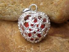 Heart Shaped Harmony/Chime Ball/Angel Caller Balinese 925 Silver Pendant Orange