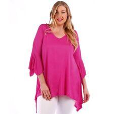 Womens FUSCHIA Pink Sharkbite Bell Sleeves Asym Top Yummy Plus Size 6X