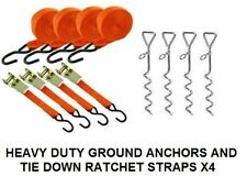 4 AUTO LOCKING TIE DOWN RATCHET & 4 GROUND ANCHORS MARQUEE AWNING GAZEBO NEW