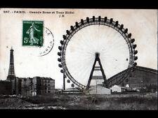 PARIS / USINE , TOUR EIFFEL & GRANDE ROUE animés en 1908