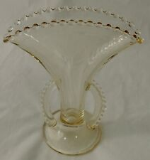 Hob Nail Edge Clear Yellow Uranium Glass Fan Shaped W/Handles Vase Euc