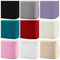 "100% Brushed Cotton Flannelette 40CM/16"" Extra Deep Fitted Sheets in 10Colours"