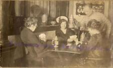 1920s Women Playing Card Game Beer Steins Horn Radio Home Parlor Bartender Photo