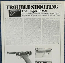 "Vintage ORIGINAL Article ""Trouble Shooting: The LUGER PISTOL"" 1-p Magazine 1972"