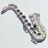 Vintage signed Ora silver tone rhinestone saxophone music instrument pin brooch