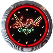 Hot Rod Garage neon clock sign garage Mancave gameroom shop lamp Light em up Nib