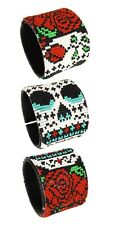 "BR609 Day of The Dead Skull Rose Wrap Cuff Czech Glass Seed Beads 7.5"" Guatemala"
