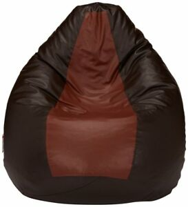 Radanya Leatherette Brown and Tan XXXL Bean Bag Cover without Beans