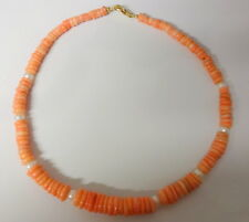 Vintage Chinese Pink Angel Skin Coral Pearls Carved Necklace