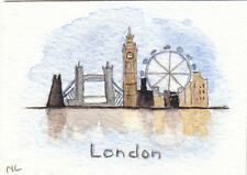 ACEO Miniature Card Original Watercolour - London - England