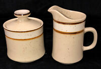"Sango Rainbow Stoneware *CAPRI* BROWN* 4 1/4"" CREAMER & SUGAR W/LID* 651"