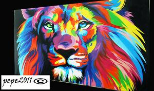 Canvas Street Art Print RAINBOW LION Painting 120cm x 100cm not framed