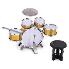 Kids Drum Set  Toy 5 Drums w/Cymbal Stool+Drum Sticks Golden C3L2
