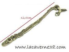 1 Marque page métal ciselé bronze long 12,5cm oiseau création perles livre Fimo