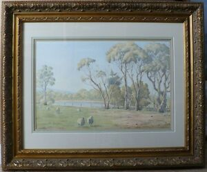 """Original Watercolor By H Spencer """"Pastoral"""" Gifted Work Fine condition 28 X 34"""