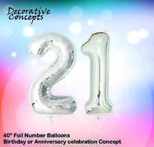"""Giant 21st Birthday Party 40"""" Foil Balloon Helium Air Decoration Age 21 SILVER"""